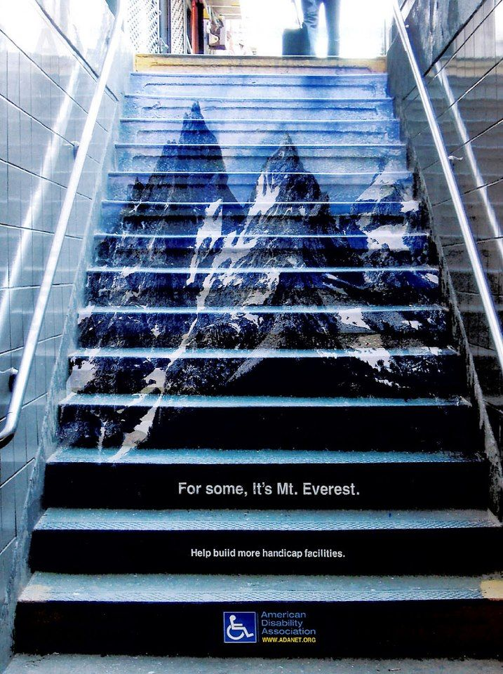 Διαφήμιση με τίτλο 'For some, it's Mt.Everest' © American Disability Association