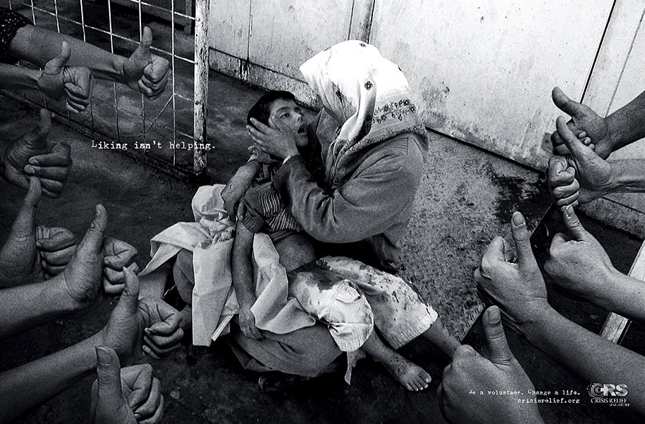 Διαφήμιση με τίτλο 'Liking isn't helping' (Crisis Relief Singapore) © Agency: Publicis, Singapore