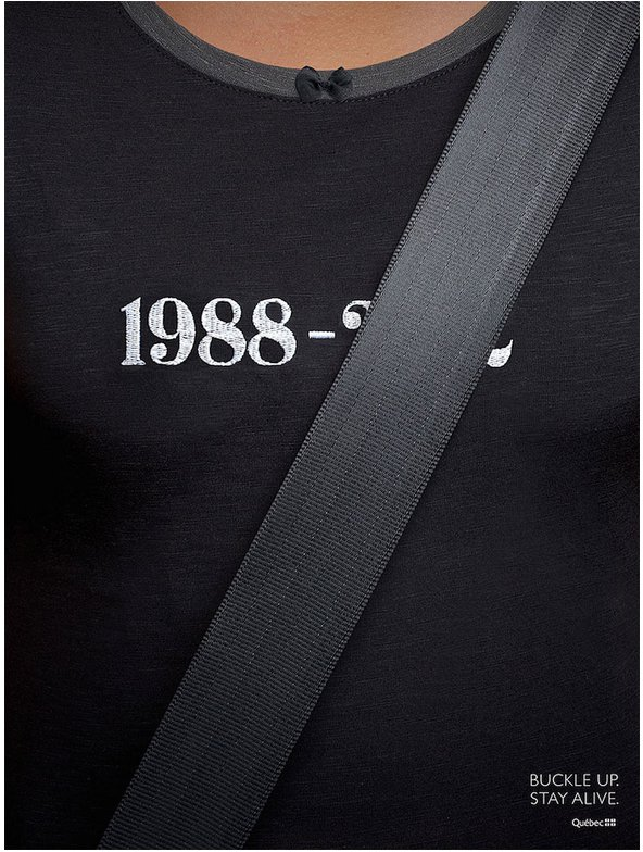 Διαφήμιση με τίτλο '1988 – ...  Buckle up. Stay alive' © Canadian provincial agency Société de l'assurance automobile (SAAQ)