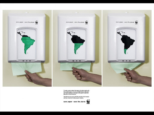 Διαφήμιση με τίτλο 'Save paper. Save the planet' (WWF) © Agency: Saatchi & Saatchi, Copenhagen, Denmark