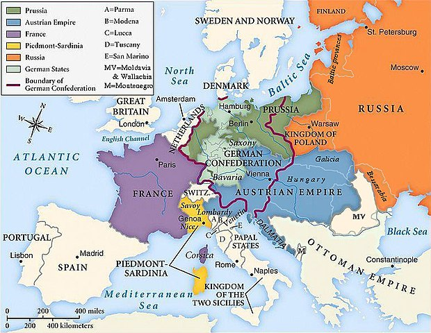 Τα ευρωπαϊκά σύνορα όπως διαμορφώθηκαν μετά το Συνέδριο της Βιέννης, 1815